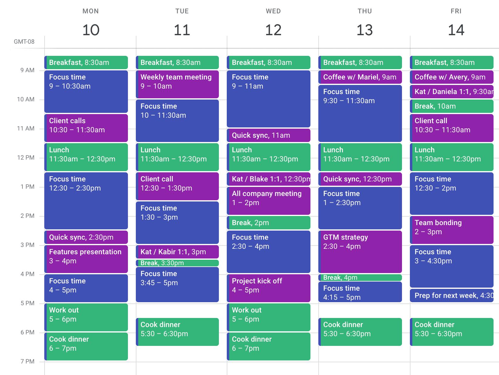 Time blocking basic calendar