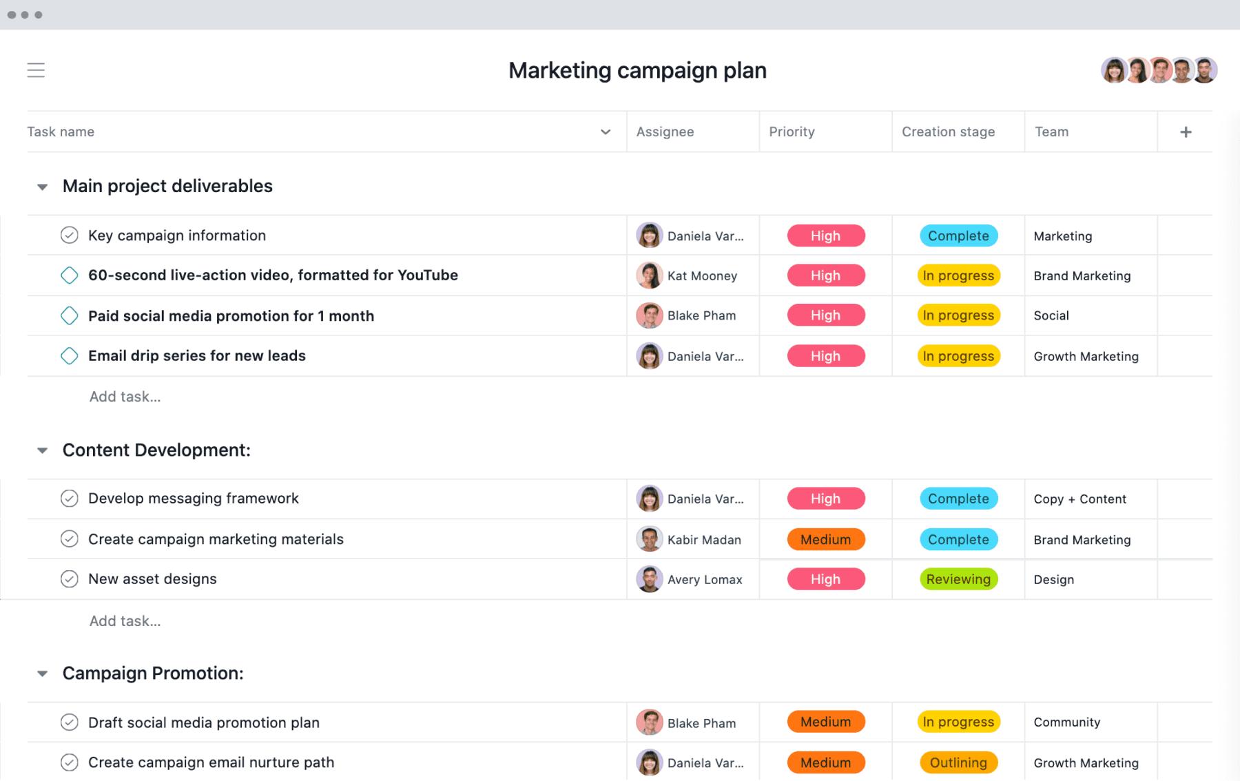 [Vista de Lista] Proyecto de plan de campaña de marketing en Asana