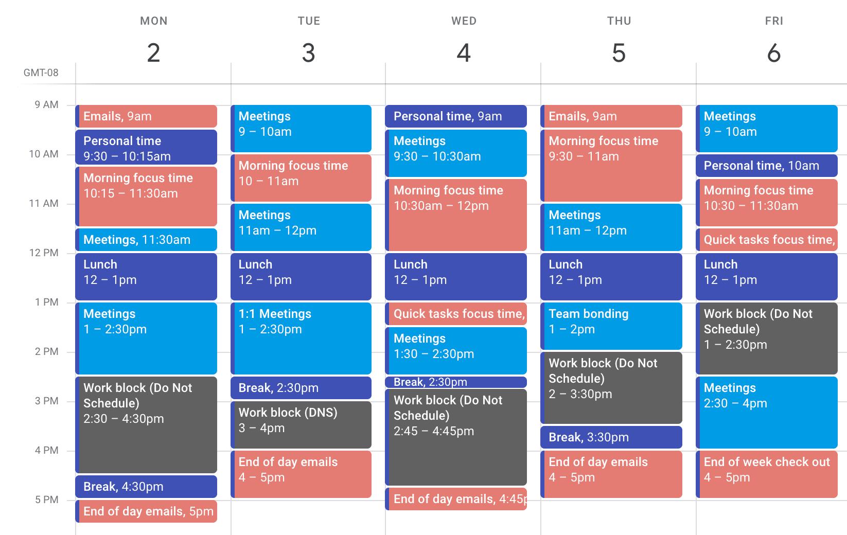 Time blocking focus calendar