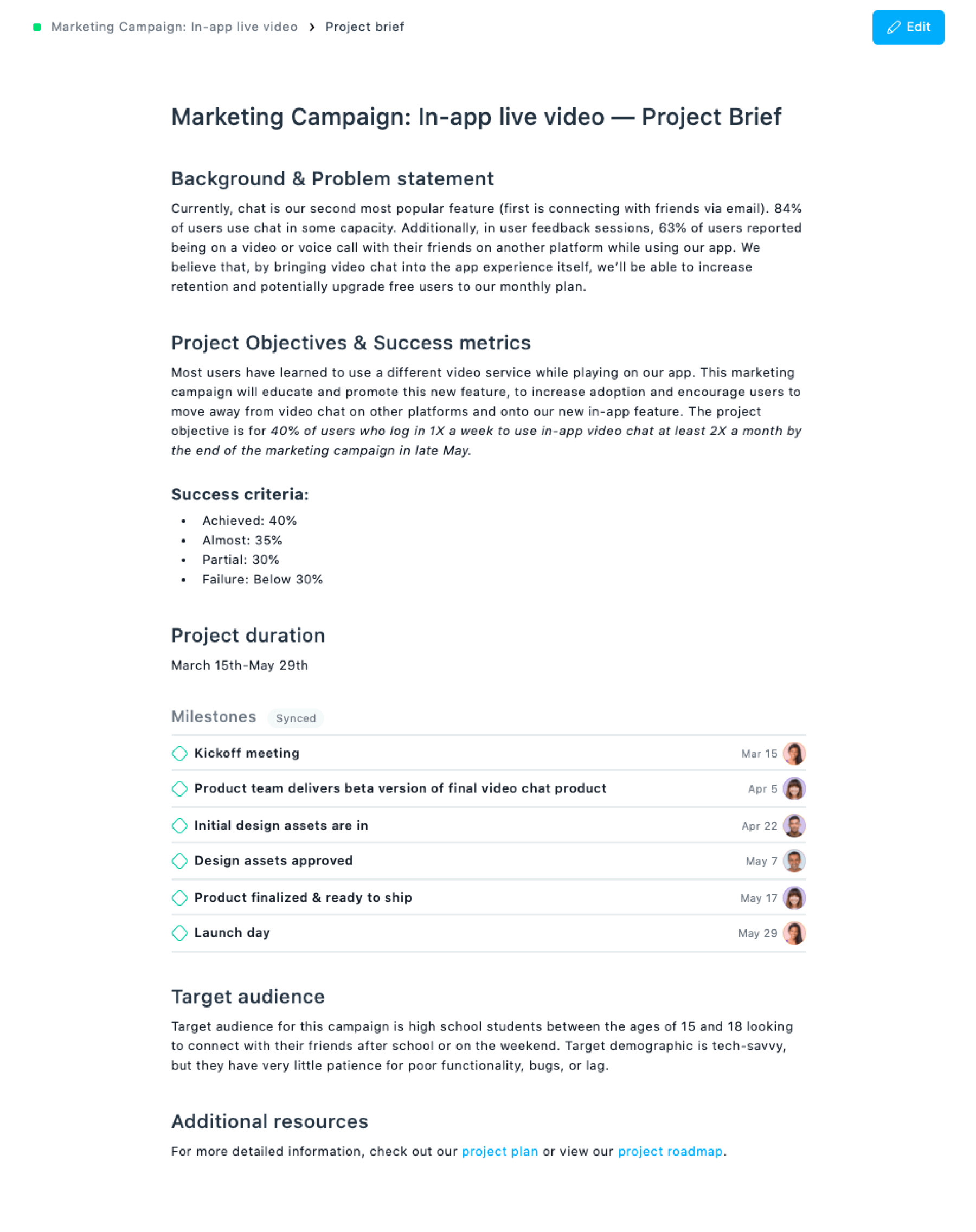 Example project brief in Asana