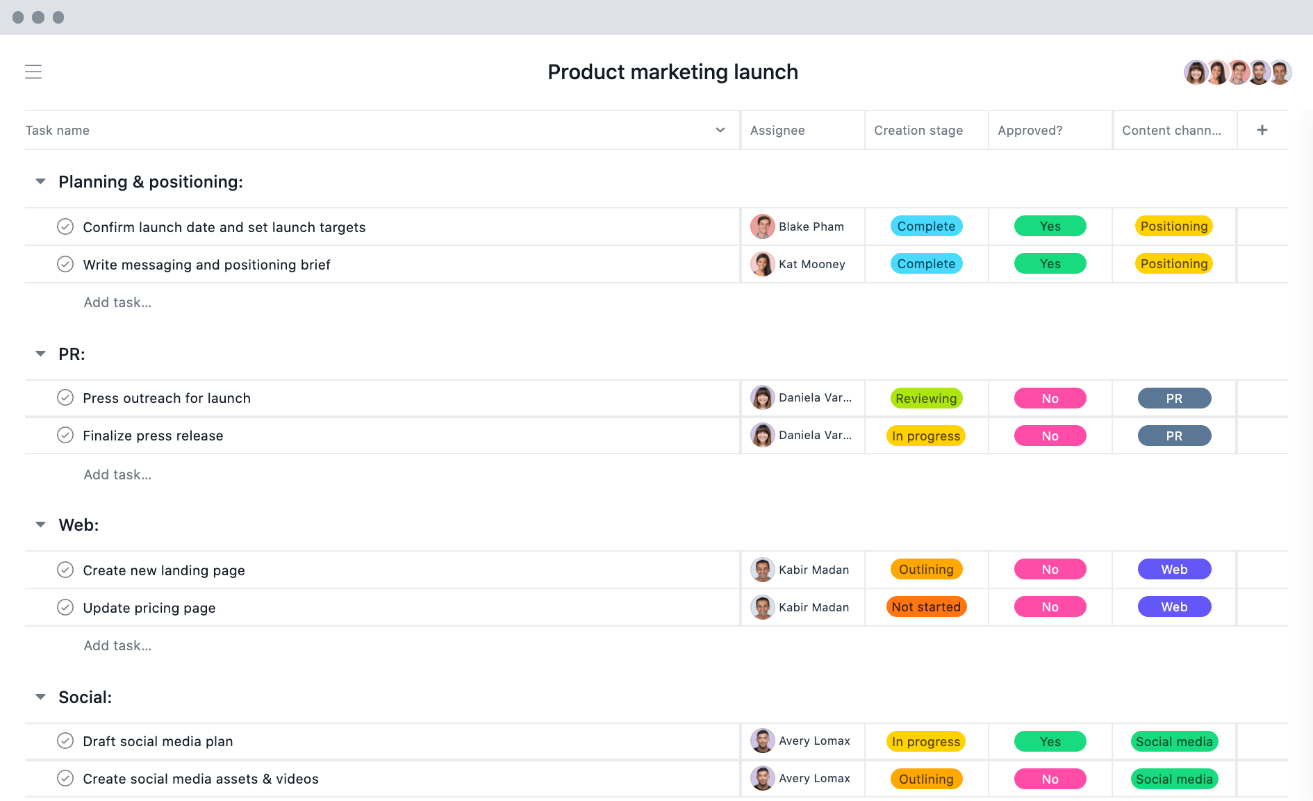 [List View] Product marketing launch project in Asana