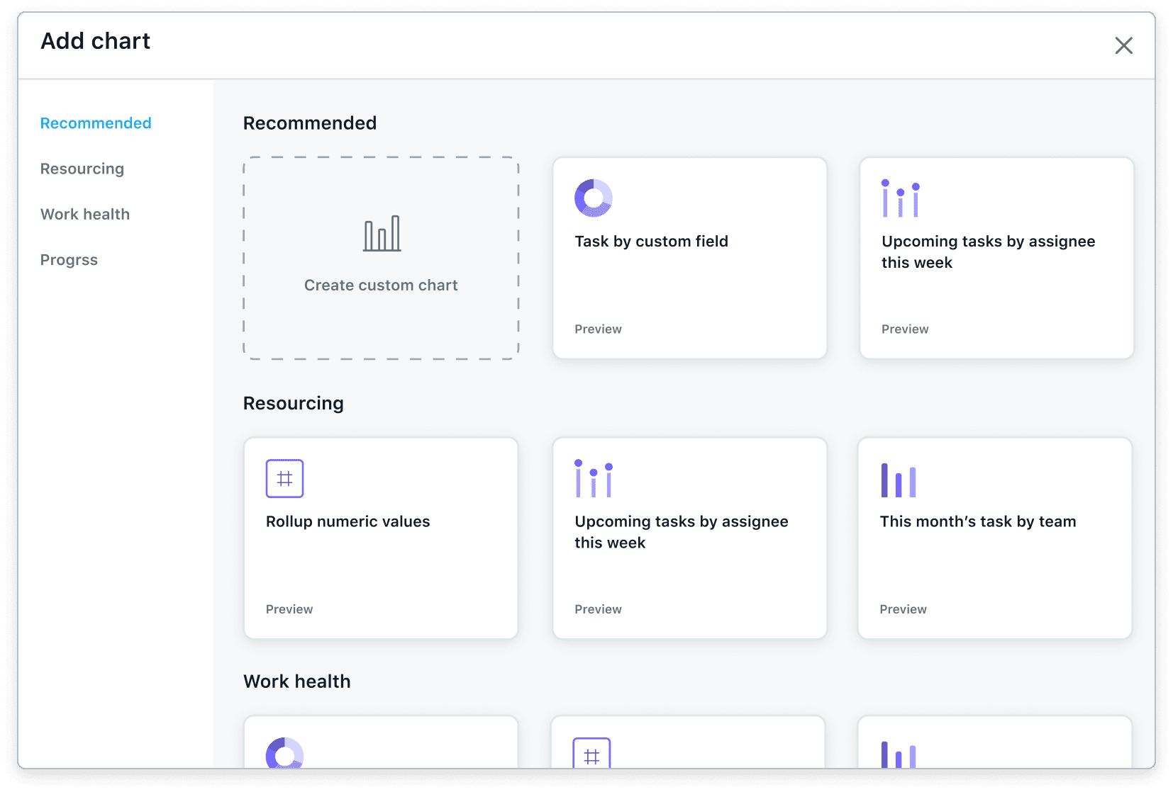 [Reporting] Universal reporting out-of-the-box templates add chart option chart picker in Asana