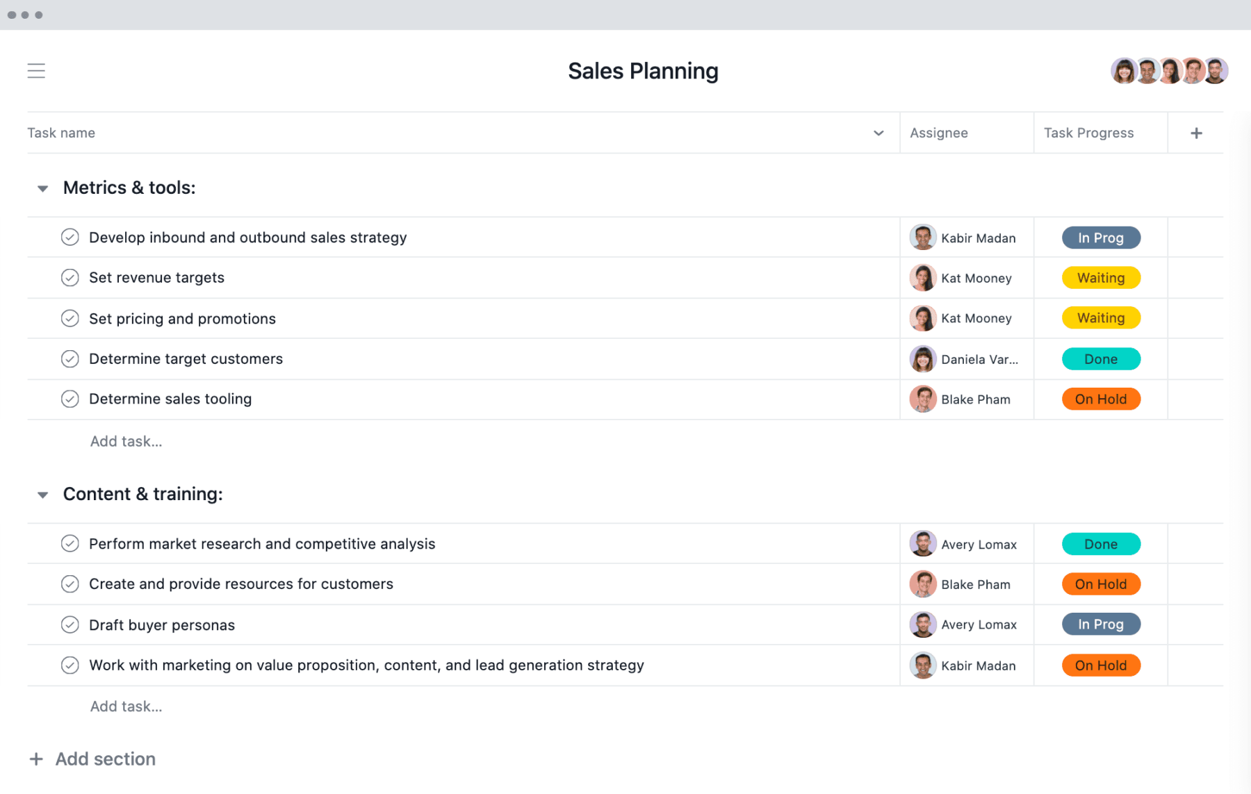 [Vista de Lista] Proyecto de planificación de ventas en Asana, en una vista al estilo de una hoja de cálculo con entregas del proyecto