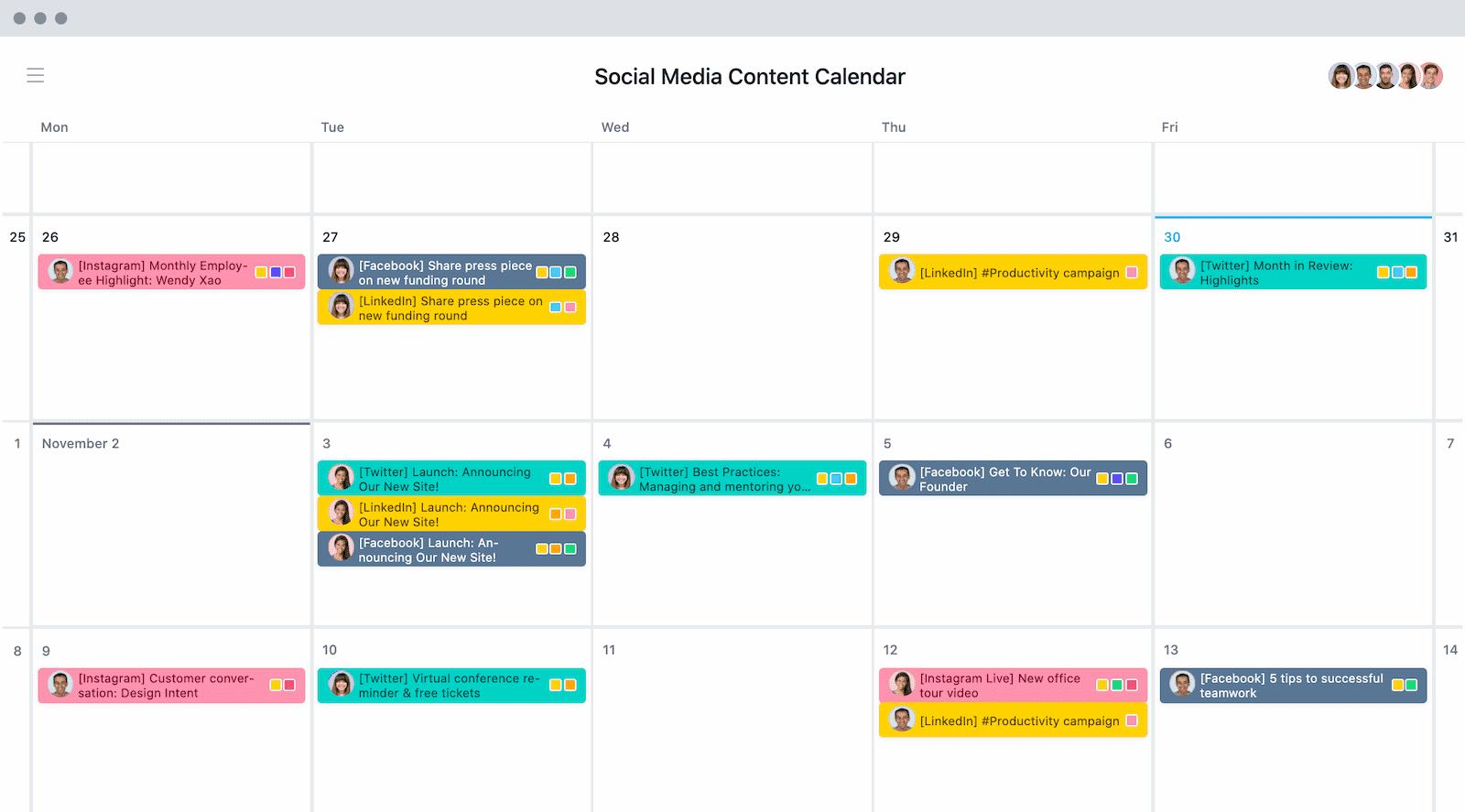 Content-Kalender für Social Media in Asana
