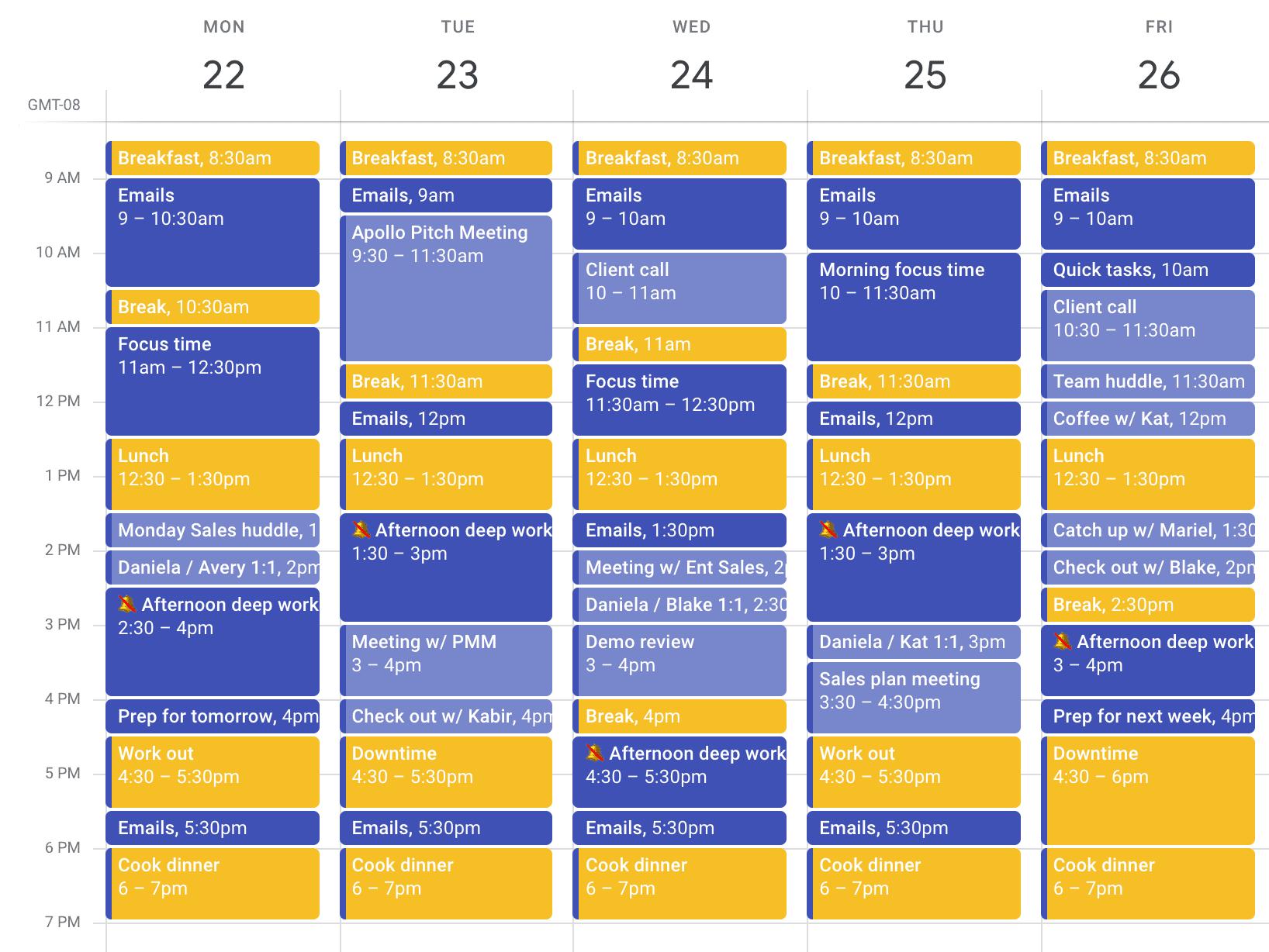 Time blocking advanced calendar