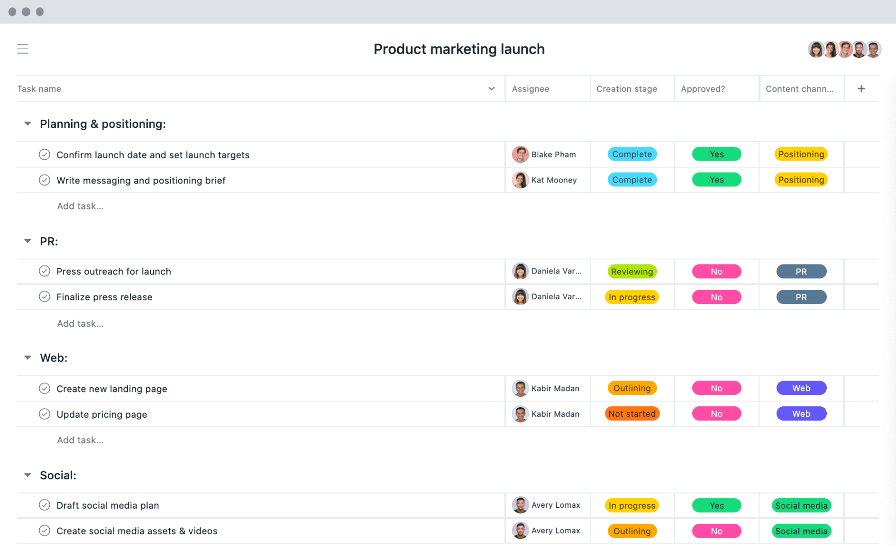 [List view] Product marketing launch project in Asana, spreadsheet-style view with project deliverables