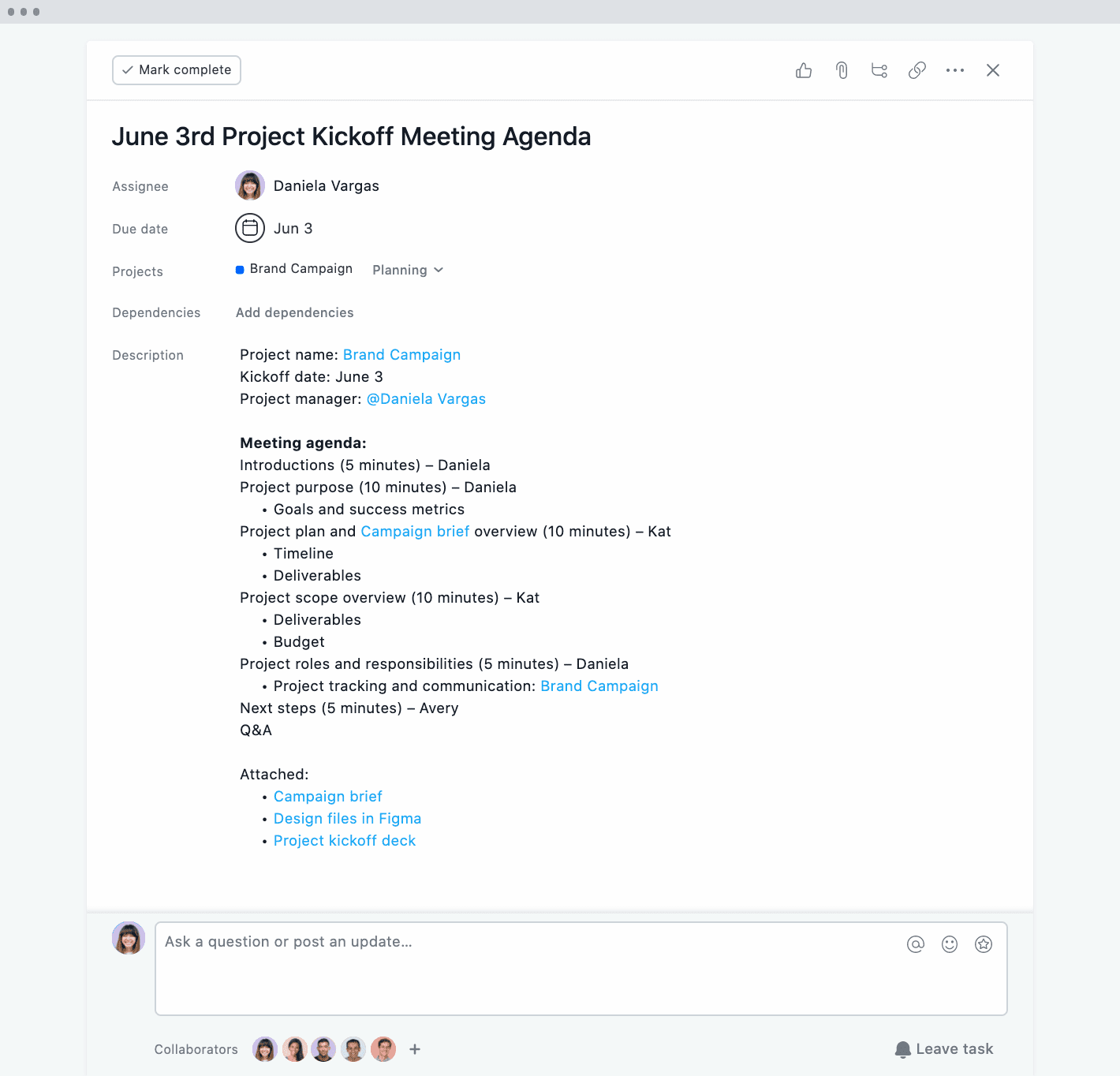 Asana project kickoff meeting agenda