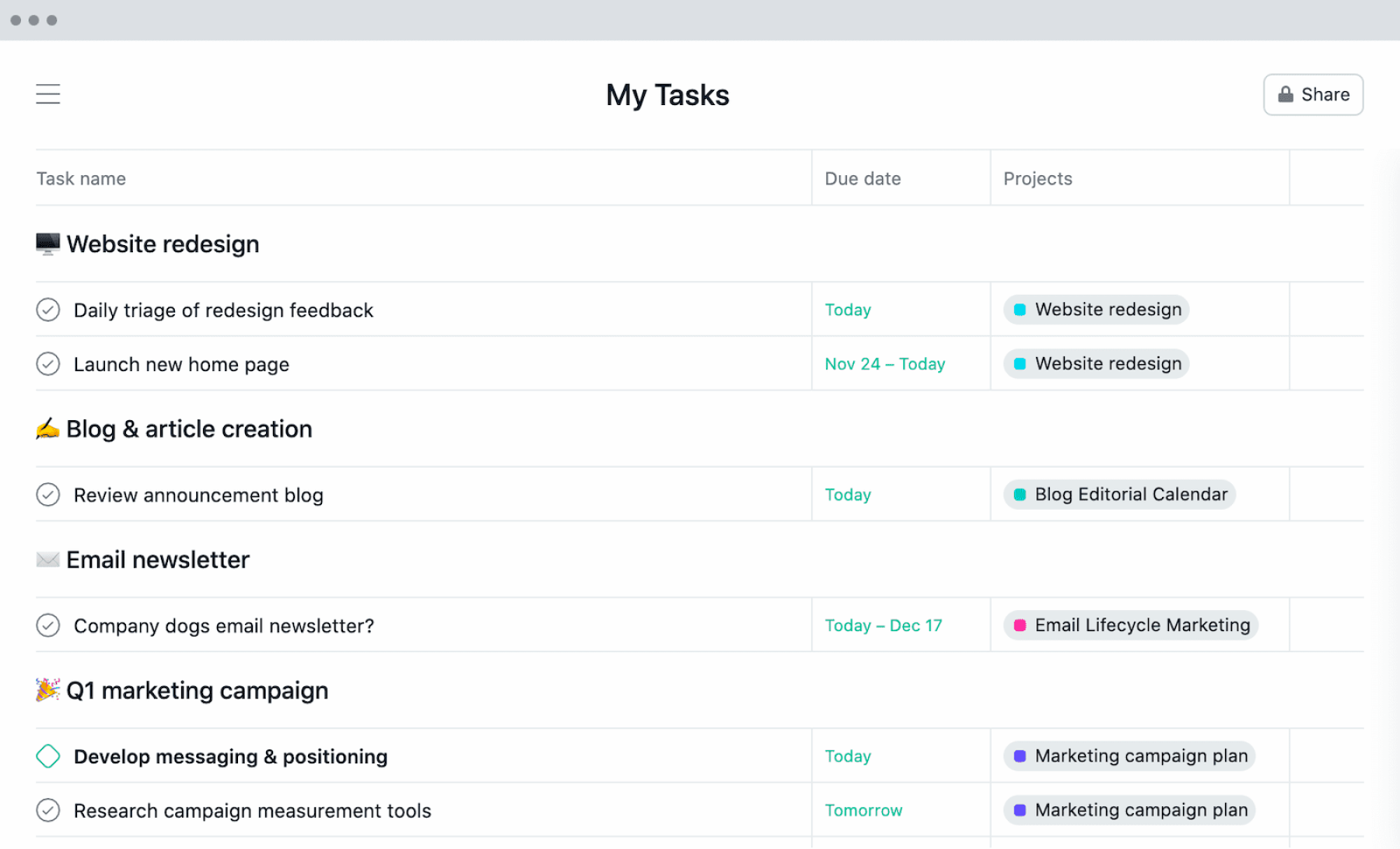 Exemple d'une liste de tâches efficace dans Mes Tâches