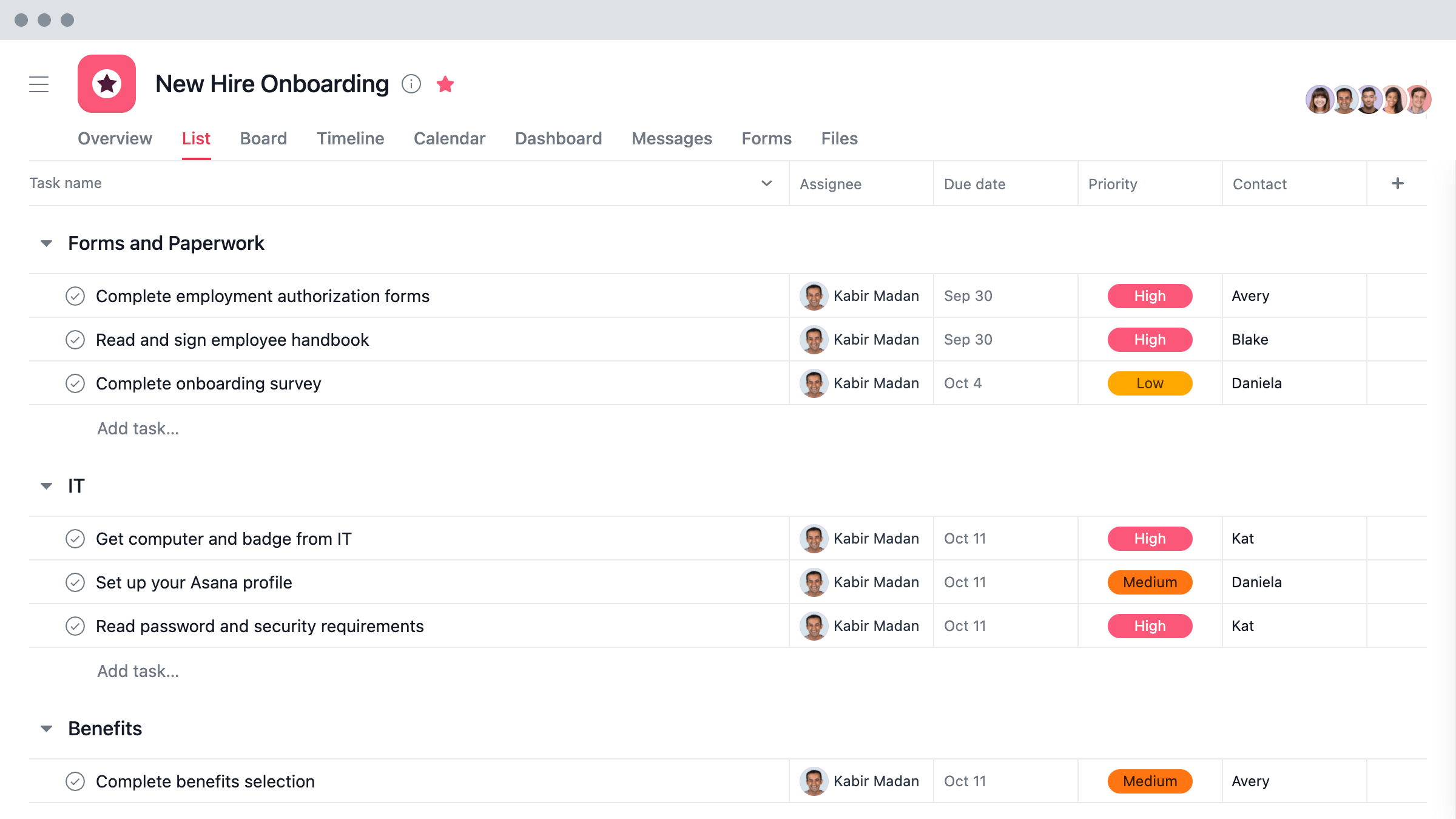 Project plan template - Onboarding template