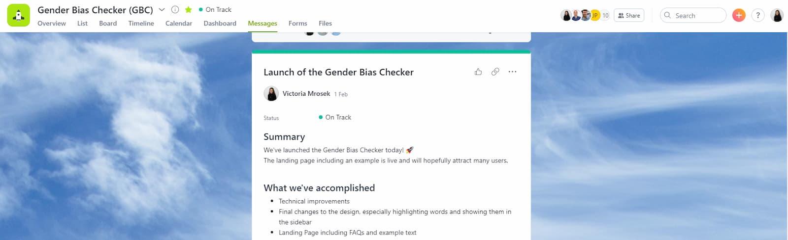Étude de cas Asana - Scribbr - Interface produit - Aperçu d'un rapport d'avancement dans le projet Vérificateur de préjugés sexistes