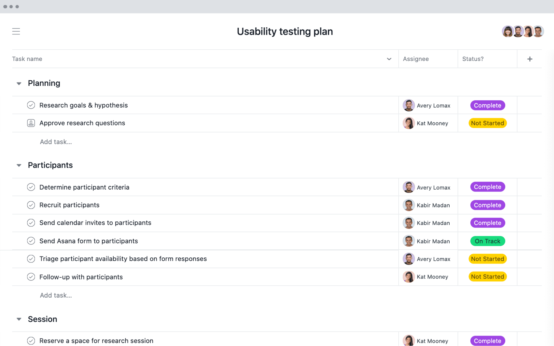 [List view] Usability testing project in Asana, spreadsheet-style view with project deliverables