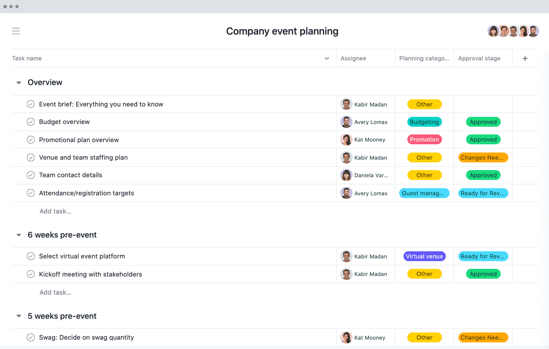 [List view] Company event planning project in Asana, spreadsheet-style view with project deliverables