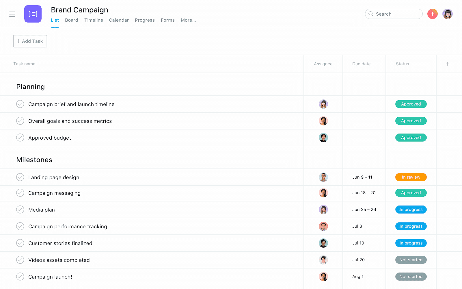 Asana example project plan list